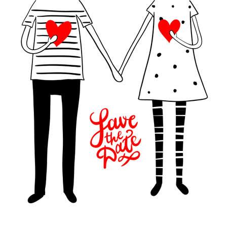 """Cute doodle paar met hart en hand belettering """"sparen de datum"""""""