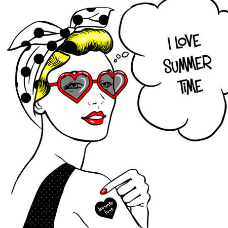 ben day dot: Woman in heart shape sunglasses in comic art style. Illustration