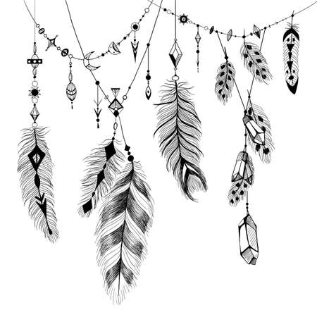 Detailed feathers in boho style.