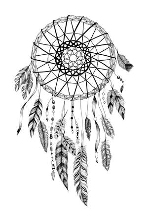 symbol traditional: Detailed dreamcatcher with sun ornament. Illustration