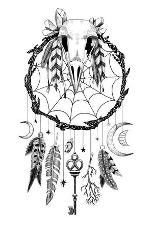 Detailed mystical dreamcatcher made of branches with crow's skull and a key. 矢量图像