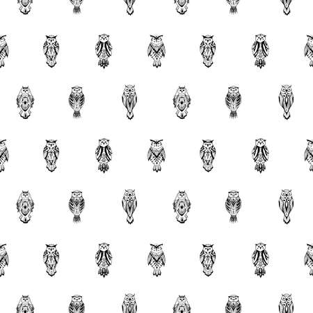 Doodle owls in aztec style. Seamless pattern.