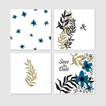 date palm: Set of Save the date templates with black and golden foil palm leaves and leopard elements. Wedding invitation cards. Illustration