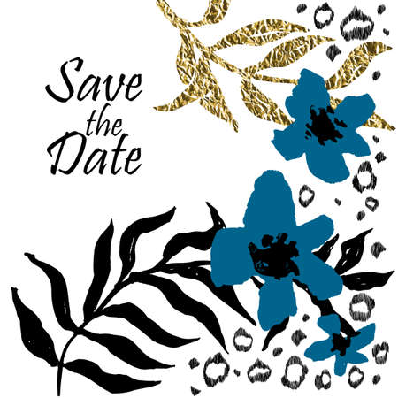 date palm: Save the date template with black and golden foil palm leaves and leopard elements. Wedding invitation. Illustration