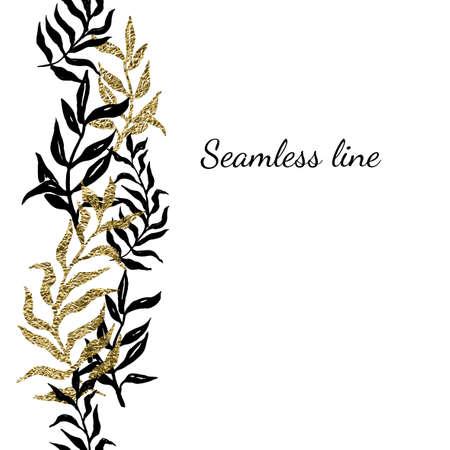 Palm (fern) leaves seamless line. 矢量图像