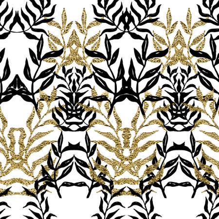Palm (fern) leaves seamless pattern.