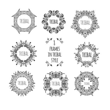 Doodle decorative set of frames in tribal style. 矢量图像