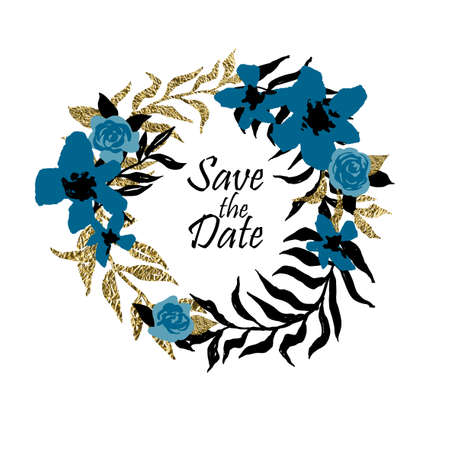 palm wreath: Save the date template with a wreath made of black and golden foil palm leaves. Wedding invitation.
