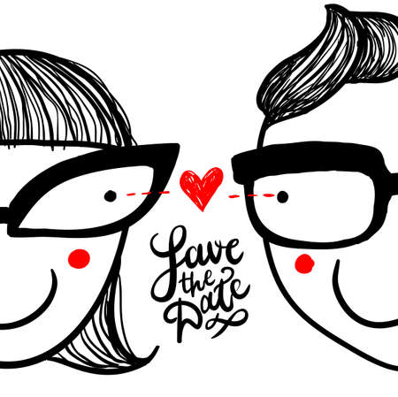 love at first sight: Cute doodle in love couple in eyeglasses and hand lettering save the date