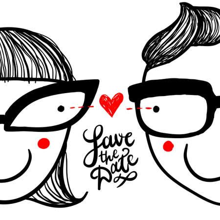 """Cute doodle 'in love' paar in brillen en met de hand belettering """"sparen de datum"""" Vector Illustratie"""