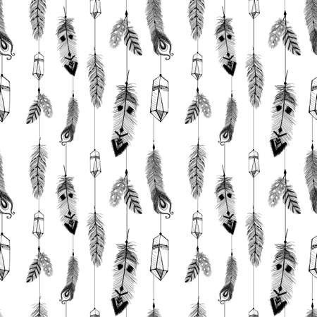 Textured feathers and crystals in aztec (boho) style. Seamless pattern.
