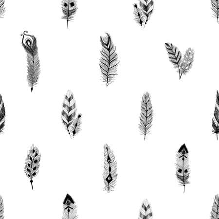 Textured feathers in aztec (boho) style. Seamless pattern. 矢量图像