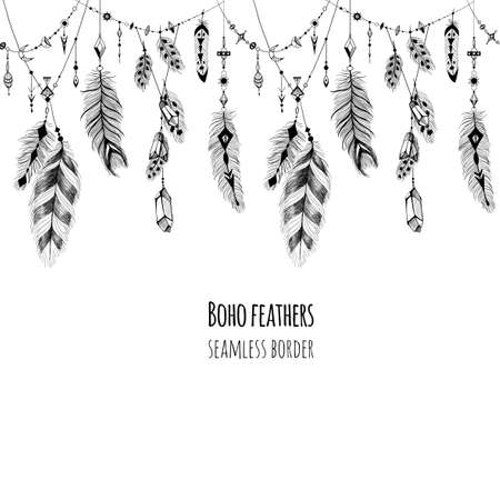 indian feather: Textured feathers and crystals in aztec (boho) style. Seamless border. Illustration