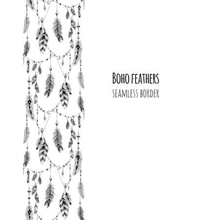 Textured feathers and crystals in aztec (boho) style. Seamless border. 矢量图像