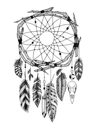 Detailed mystical dreamcatcher made of branches with a crow's skull. 矢量图像