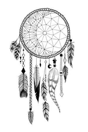 """Dreamcatcher dettagliata con l'ornamento """"luna""""."""