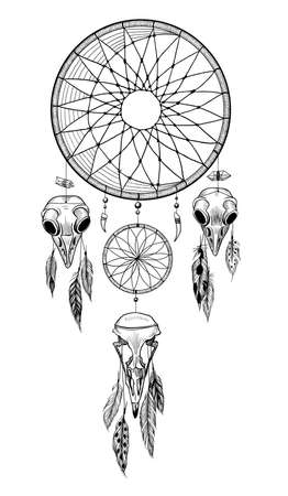 Detailed mystical dreamcatcher with owl's skulls.