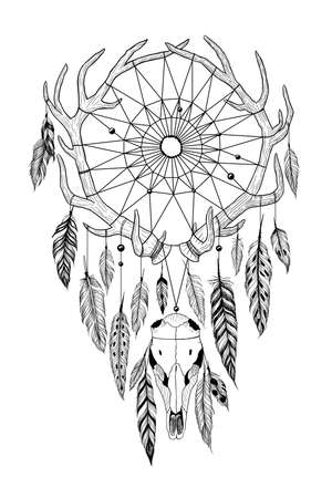 Detailed mystical dreamcatcher made of antlers with deer's skull.