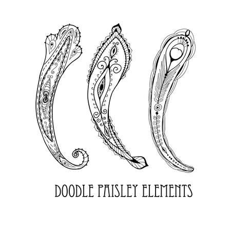 Three doodle paisley elements. 矢量图像