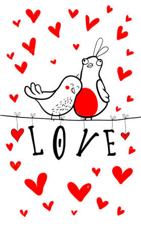 Doodle birds couple among hearts. 矢量图像