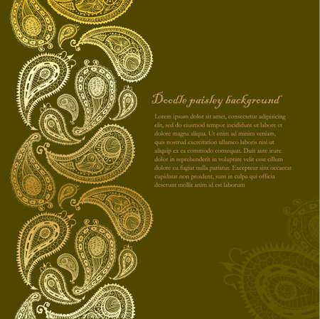 Doodle paisley seamless line background. Illustration