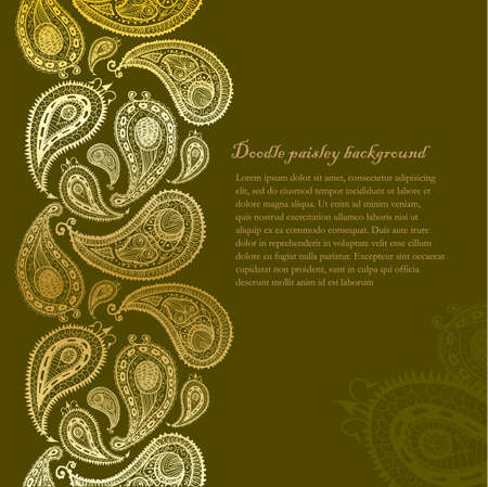 Doodle paisley seamless line background. Illustration