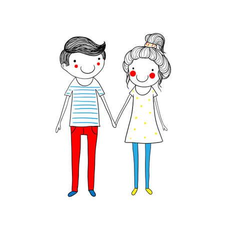 Cute doodle couple 矢量图像