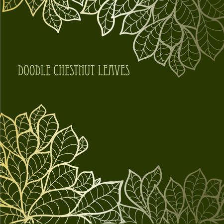 Doodle seamless chestnut leaves background. 矢量图像