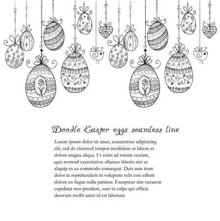 Doodle textured Easter eggs seamless line.