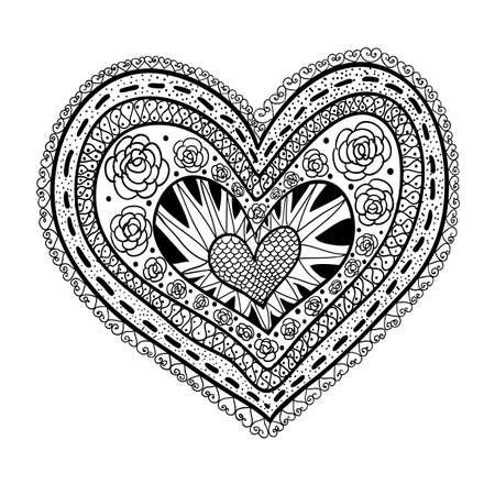 Doodle textured heart template vector illustration. 矢量图像