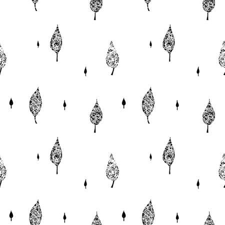 Doodle sketchy leaves seamless pattern
