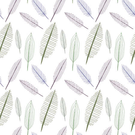 Doodle sketchy feathers textured leaves seamless pattern