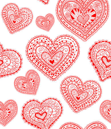Doodle textured hearts seamless pattern. 矢量图像