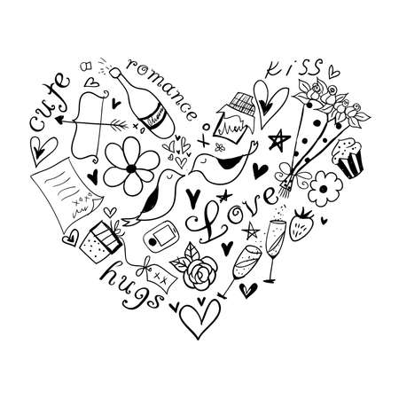 Heart-shaped romantic symbols 矢量图像