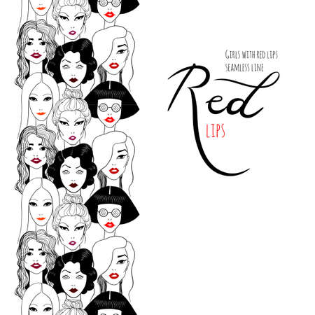Women's faces pattern with red lips 矢量图像