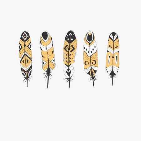 Textured boho feathers seamless pattern