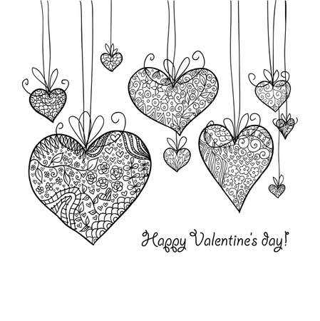 Doodle textured hearts-baubles background.