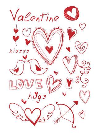 Hand drawn doodle Valentine's elements.