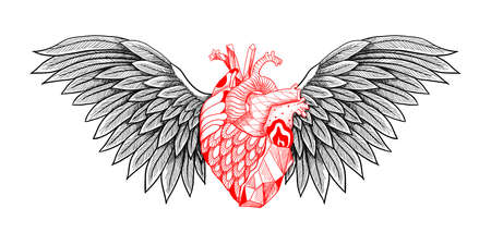 Textured heart with wings. Detailed illustration. Can be used as print, tattoo, card, poster etc, Illustration