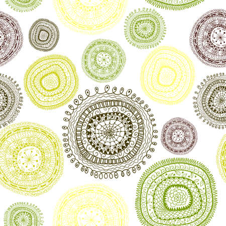 Doodle circles seamless pattern. Illustration