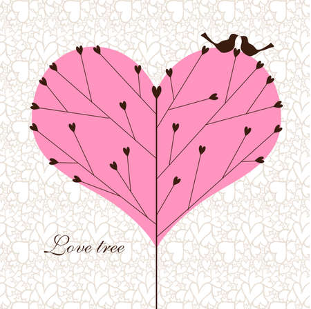 Love tree with a couple of birds. 矢量图像