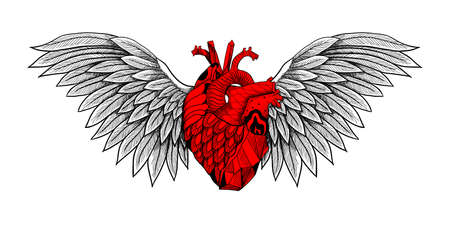 Textured heart with wings. Detailed illustration. Can be used as print, tattoo, card, poster etc, 矢量图像