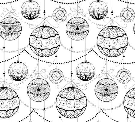 Hand drawn doodle textured Chrismas decorations. Seamless pattern.Vector illustration. 矢量图像