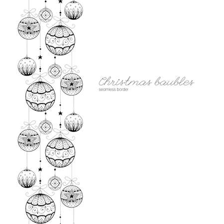 Hand drawn doodle textured Christmas decorations. Seamless border. Vector illustration.