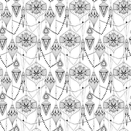 Hand drawn doodle textured Chrismas decorations. Seamless pattern.Vector illustration. Ilustracja