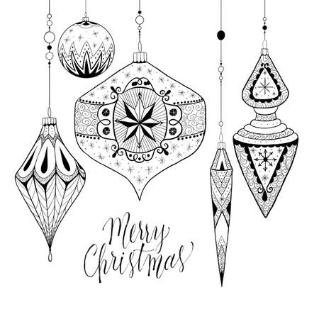 Hand drawn doodle Christmas bauble garland. Vector illustration.