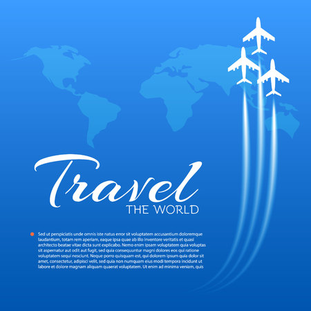 Blue background with white airplanes.  Vector illustration