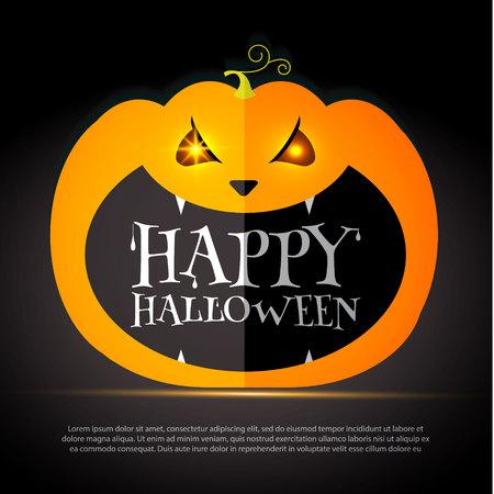 Halloween Party Design template, with pumpkin, bats and place for text. Halloween Party Design template, with pumpkin, bats and place for text. Vector illustration Stock Illustratie