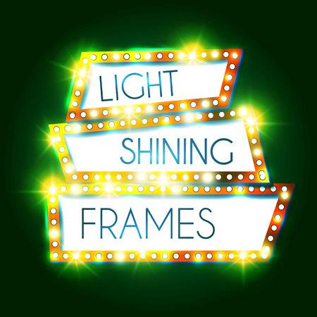 Abstract Shining Frame. Retro Light Banner. Vector illustration