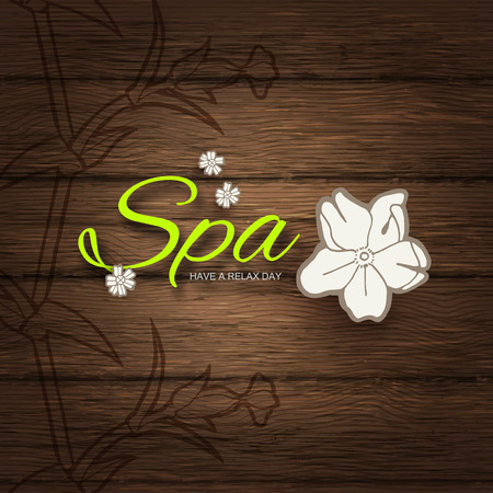 Spa Resort or Beauty Business Background. Eco Design. Wood Texture. Vector illustration